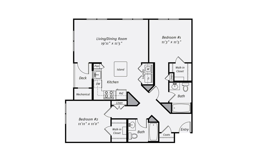 Randolph B4 2 Bed 2 Bath Floorplan