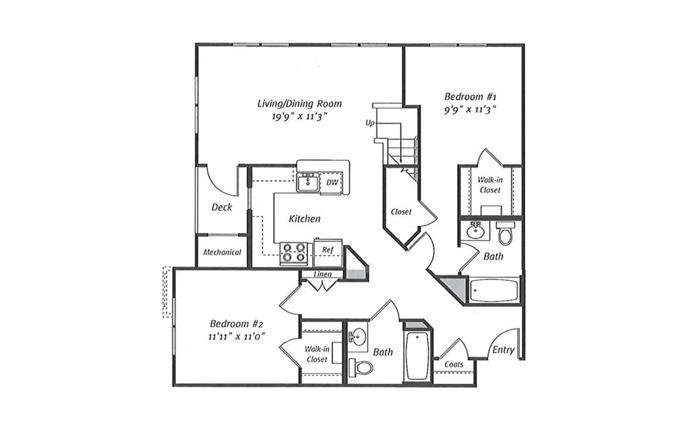Randolph B6L 2 Bed 2 Bath Floorplan